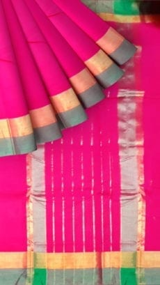 Bright Pink Cotton Saree with Light Grey and Golden Border-yespoho