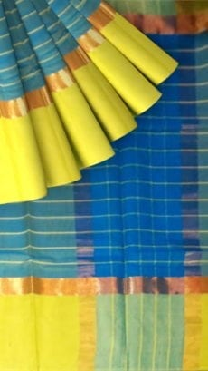 Striped Bright Blue Cotton Saree with Greenish Yellow and Golden Border-yespoho