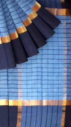 Striped Greyish-Blue Cotton Saree with Navy Blue and Golden Border-yespoho