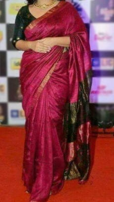 Dark Magenta Linen Saree with golden border on Semi-Contrast-yespoho