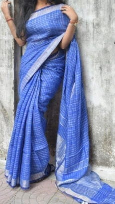 Violet Linen Saree with check border on a Semi-Contrast-yespoho