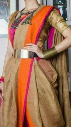 Brownish Golden Linen Saree with Orange And Thin Magenta Border-yespoho
