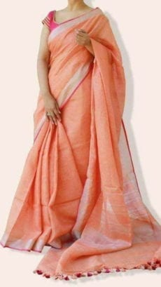 Plain patterned Peach Linen Saree coupled with Plain Pallu and Matching Blouse-yespoho