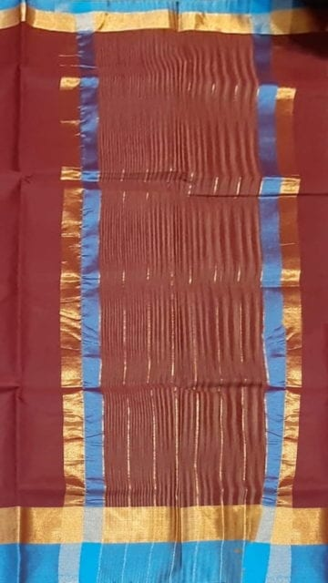 Azure Blue Maroon Cotton Saree with Azure Blue and Golden Border