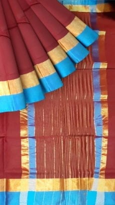 Maroon Cotton Saree with Azure Blue and Golden Border-yespoho