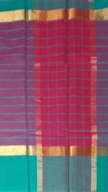 Eggplant Purple Striped Eggplant Purple Cotton Saree with Turquoise Blue and Golden Border