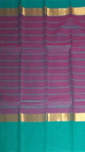 Yespoho Striped Eggplant Purple Cotton Saree with Turquoise Blue and Golden Border