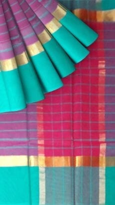 Striped Eggplant Purple Cotton Saree with Turquoise Blue and Golden Border-yespoho