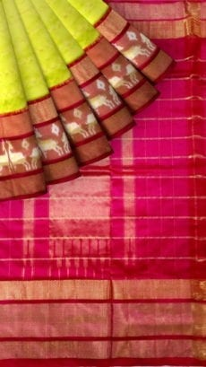 ikat jari checks floroescent green body saree with kaddi border and deer border-yespoho