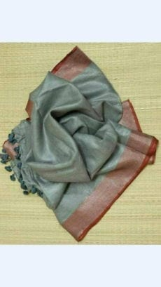 Greyish Green Linen Saree