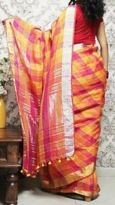 Magenta, Yellow and Orange Linen Saree with Silver And Thin Magenta Border-yespoho