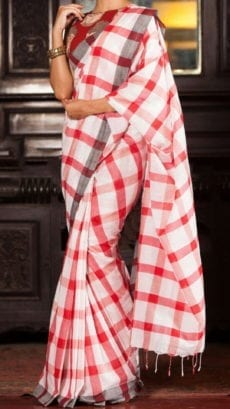 Red and White Linen Saree with grey border-yespoho