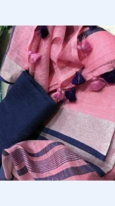 Plain patterned Pink Linen Saree coupled with Striped Pallu-yespoho