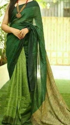 Bottle Green Linen Saree
