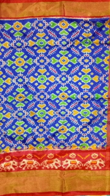 Yespoho ikat panpotola design with blue body and pink elephant and tissue border