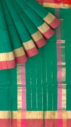 Sacremento Green Cotton Saree with Maroon and Golden Border-yespoho
