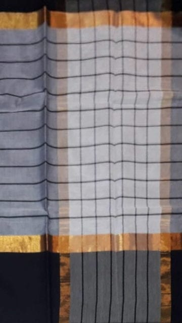 Gold Striped Steel Grey Cotton Saree with Jade Black and Golden Border