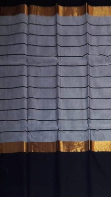 Yespoho Striped Steel Grey Cotton Saree with Jade Black and Golden Border