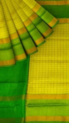 Lemon Yellow Uppada Mahanati Saree with Golden Border-yespoho