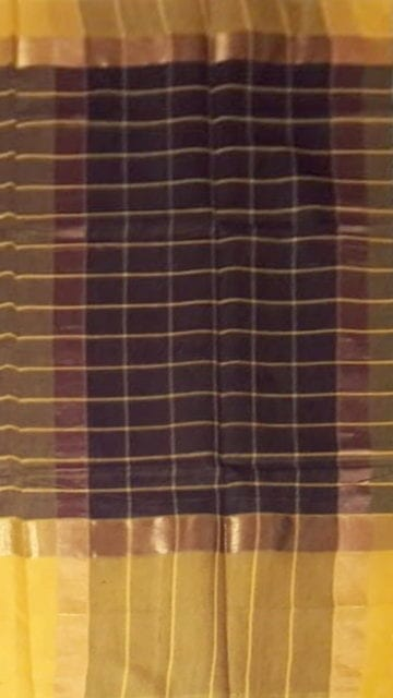 Brown Golden-striped Brown Cotton Saree with Royal Yellow and Golden Border