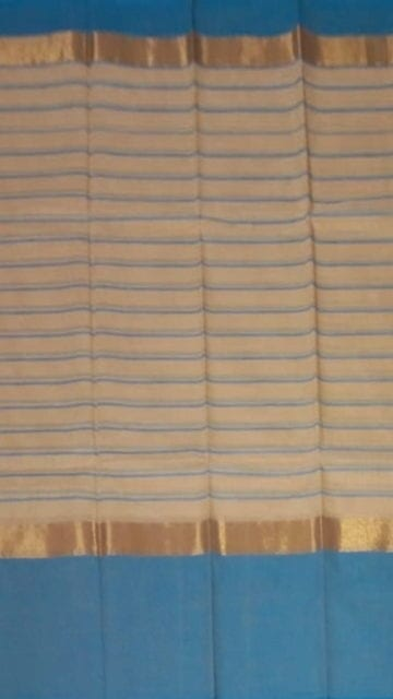 Yespoho Striped Light Peach Cotton Saree with Bright Blue and Golden Border