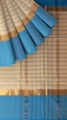 Striped Light Peach Cotton Saree with Bright Blue and Golden Border-yespoho