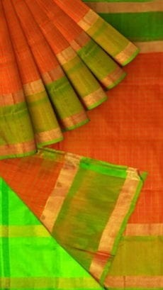 Orange Uppada Mahanati Saree with Golden Border-yespoho
