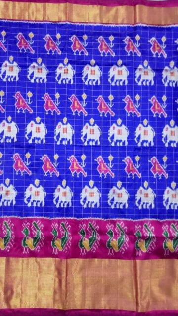 Yespoho ikat  small jari checks parrot blue with elephant and sparowdesign and pink color pallu with kaddi border