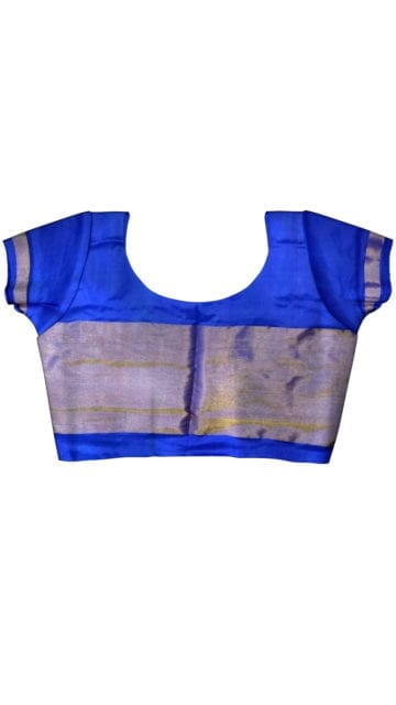 ikat lemon yellow body with blue color half tisuue saree with Unstitched Blouse