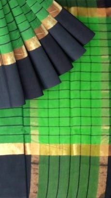 Striped Forest Green Cotton Saree with Coal Black and Golden Border-yespoho