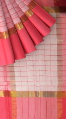 Striped Rose Pink Cotton Saree with Bright Pink and Golden Border-yespoho