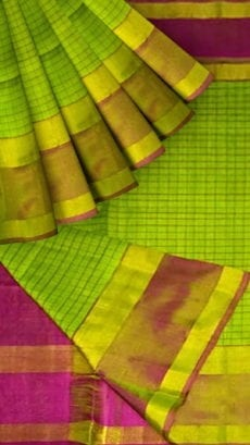 Light Green Uppada Mahanati Saree with Golden Border-yespoho