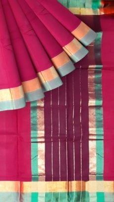 Cercise Pink Cotton Saree with Light Grey and Golden Border-yespoho