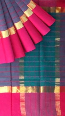 Striped Navy Blue Cotton Saree with Magenta and Golden Border-yespoho