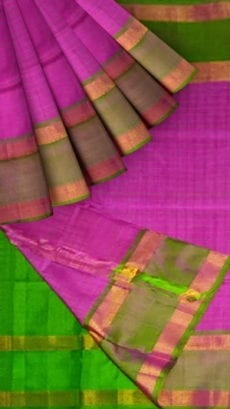 Purple Uppada Mahanati Saree with Golden Border-yespoho