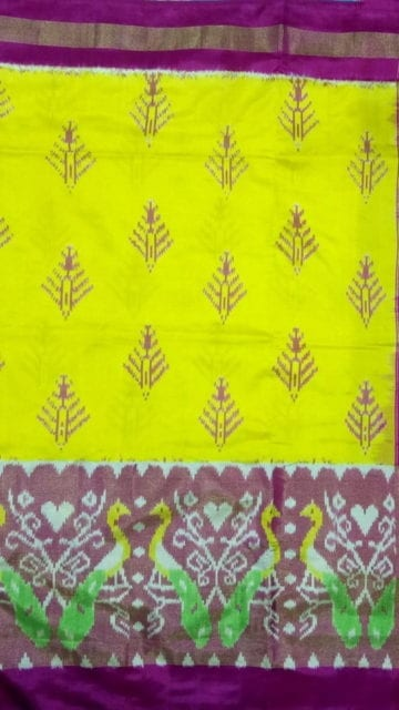 Yespoho ikat lemon yellow with pink color half tisuue border
