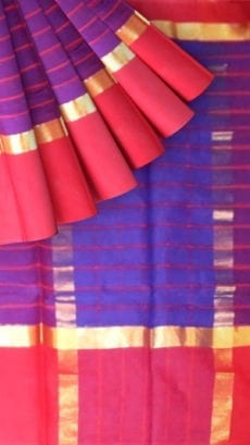 Striped Dark Purple Cotton Saree with Bright Red and Golden Border-yespoho