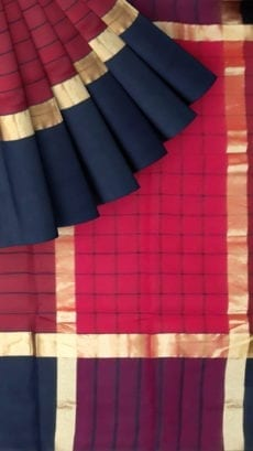 Striped Dark Pink Cotton Saree with Navy Blue and Golden Border-yespoho