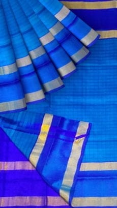 Electric Blue Uppada Mahanati Saree with Golden Border-yespoho