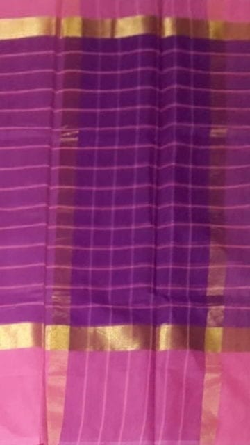 Gold Striped Purple Cotton Saree with Light Pink and Golden Border