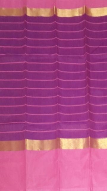 Yespoho Striped Purple Cotton Saree with Light Pink and Golden Border
