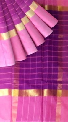 Striped Purple Cotton Saree with Light Pink and Golden Border-yespoho