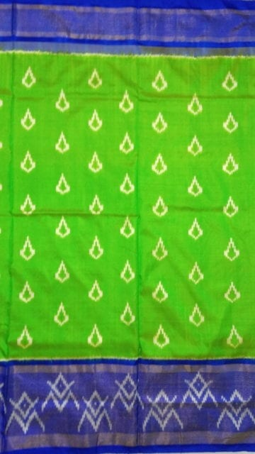 Yespoho ikat parrot green saree with blue blouse of mungi design