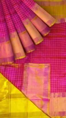 Light Olive Green and Magenta Uppada Mahanti Saree with zari-yespoho