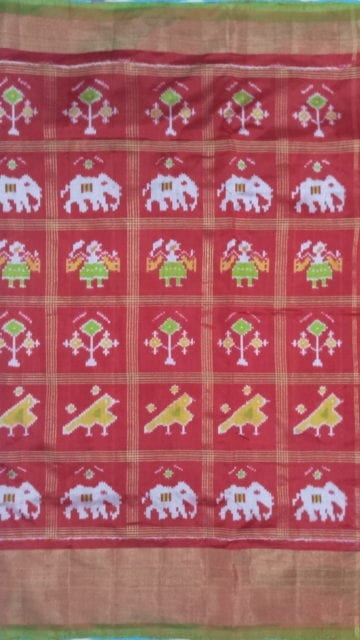 Yespoho ikat panchpatti saree allover design with orange/ red color