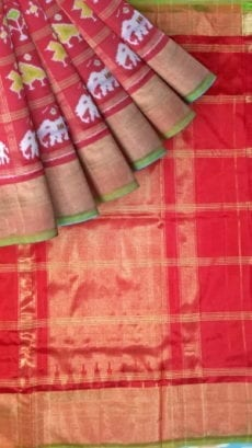 ikat panchpatti saree allover design with orange/ red color-yespoho