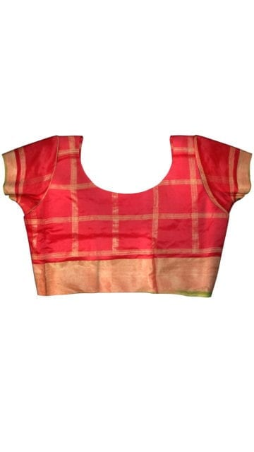 ikat panchpatti saree allover design with orange/ red color with Unstitched Blouse