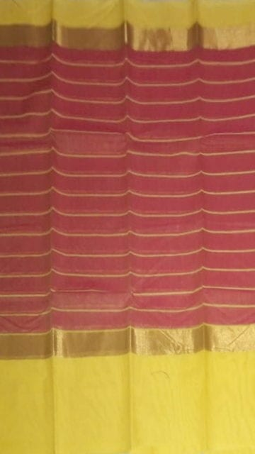 Yespoho Striped Raspberry Red Cotton Saree with Royal Yellow and Golden Border