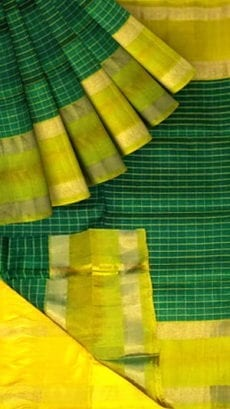 Dark Green Uppada Mahanti saree with Stripes pallu-yespoho