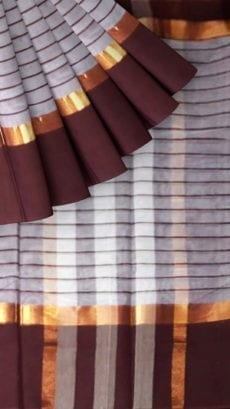 Striped Light Grey Cotton Saree with Burgundy and Golden Border-yespoho